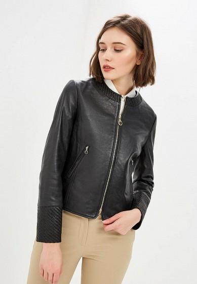 Куртка кожаная, Pennyblack, цвет: черный. Артикул: PE003EWEEWN9. Одежда / Верхняя одежда / Кожаные куртки