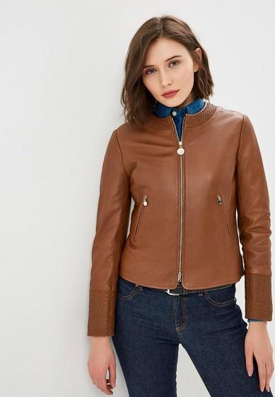 Куртка кожаная, Pennyblack, цвет: коричневый. Артикул: PE003EWEEWO0. Одежда / Верхняя одежда / Кожаные куртки