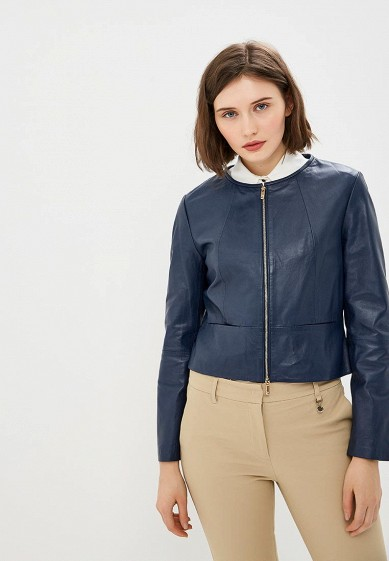 Куртка кожаная, Pennyblack, цвет: синий. Артикул: PE003EWEEWO1. Одежда / Верхняя одежда / Кожаные куртки
