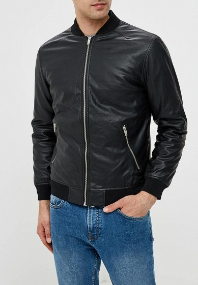 Куртка кожаная, Piazza Italia, цвет: черный. Артикул: PI022EMCTAZ4. Одежда / Верхняя одежда