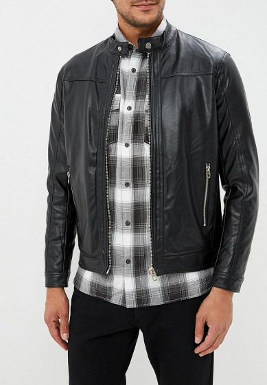 Куртка кожаная, Piazza Italia, цвет: черный. Артикул: PI022EMCUXD2. Одежда / Верхняя одежда