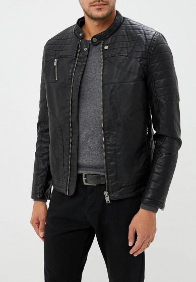 Куртка кожаная, Piazza Italia, цвет: черный. Артикул: PI022EMCUXE6. Одежда / Верхняя одежда