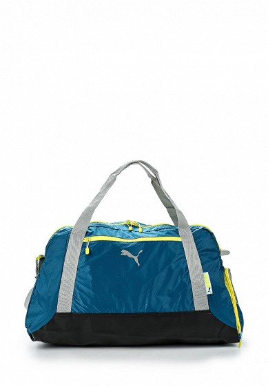53c297ac2918 Сумка спортивная PUMA Fit AT Sports Duffle blue coral-limeston купить за 3  490 руб PU053BWFVY11 в интернет-магазине Lamoda.ru