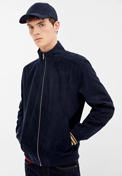 Куртка кожаная, Springfield, цвет: синий. Артикул: SP014EMGFAL2. Одежда / Верхняя одежда / Кожаные куртки