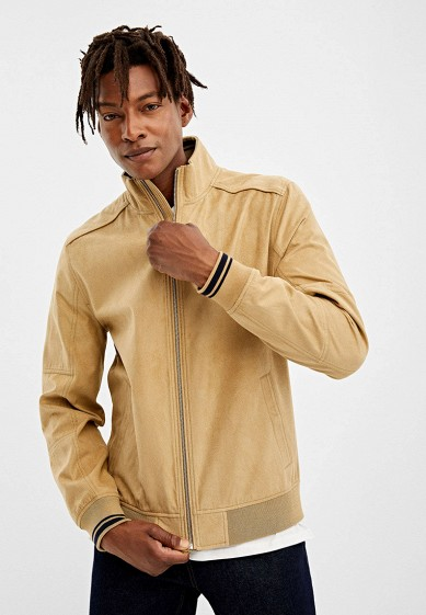 Куртка кожаная, Springfield, цвет: бежевый. Артикул: SP014EMGFAL3. Одежда / Верхняя одежда / Кожаные куртки