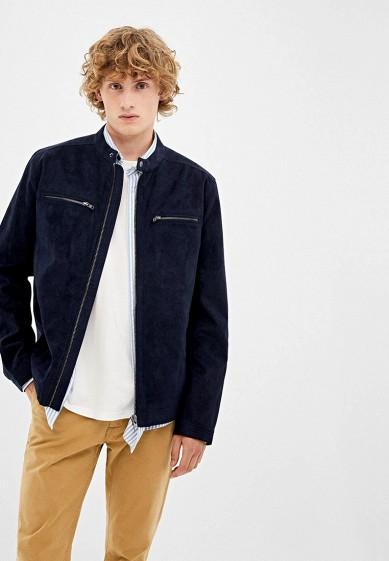 Куртка кожаная, Springfield, цвет: синий. Артикул: SP014EMGFAM0. Одежда / Верхняя одежда / Кожаные куртки