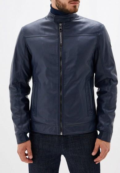 Куртка кожаная, Trussardi Jeans, цвет: синий. Артикул: TR016EMFXDA7. Одежда / Верхняя одежда / Кожаные куртки
