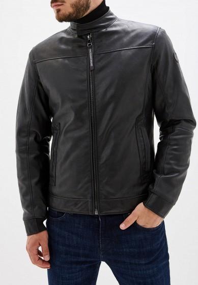 Куртка кожаная, Trussardi Jeans, цвет: черный. Артикул: TR016EMFXDA8. Одежда / Верхняя одежда / Кожаные куртки