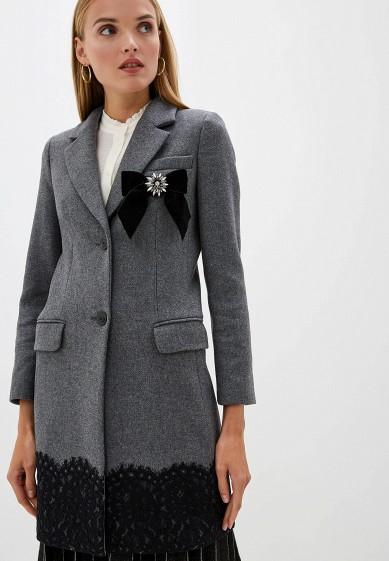 Пальто, Twinset Milano, цвет: серый. Артикул: TW008EWFMWW1. Одежда / Верхняя одежда / Пальто