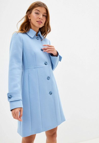 Пальто, United Colors of Benetton, цвет: голубой. Артикул: UN012EWFVAL7. Одежда / Верхняя одежда / Пальто