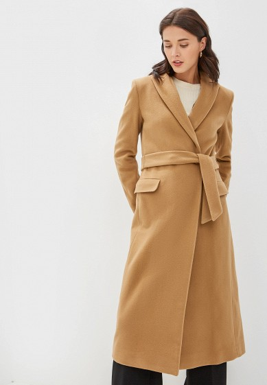 Пальто, United Colors of Benetton, цвет: бежевый. Артикул: UN012EWFVAS7. Одежда / Верхняя одежда / Пальто