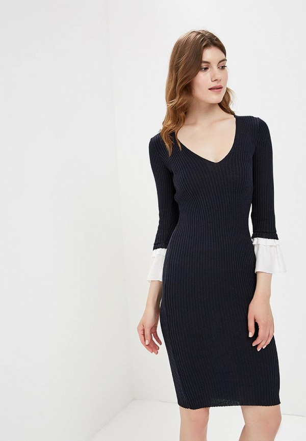 Платье LOST INK SCOOP NECK WOVEN TRIM RIB BODYCON
