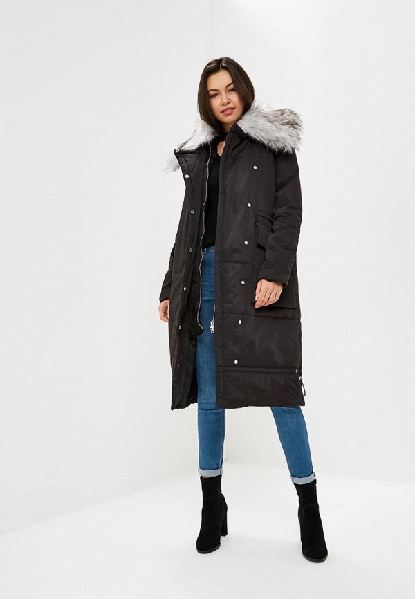 Куртка утепленная Lost Ink FAUX FUR COLLAR LONGLINE PADDED COAT