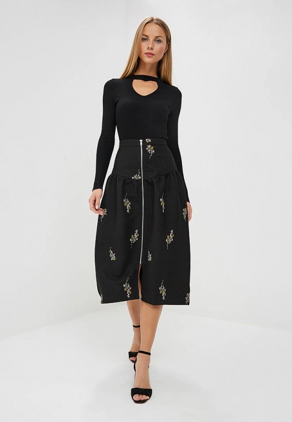 Юбка LOST INK EMBROIDED ZIP THROUGH MIDI