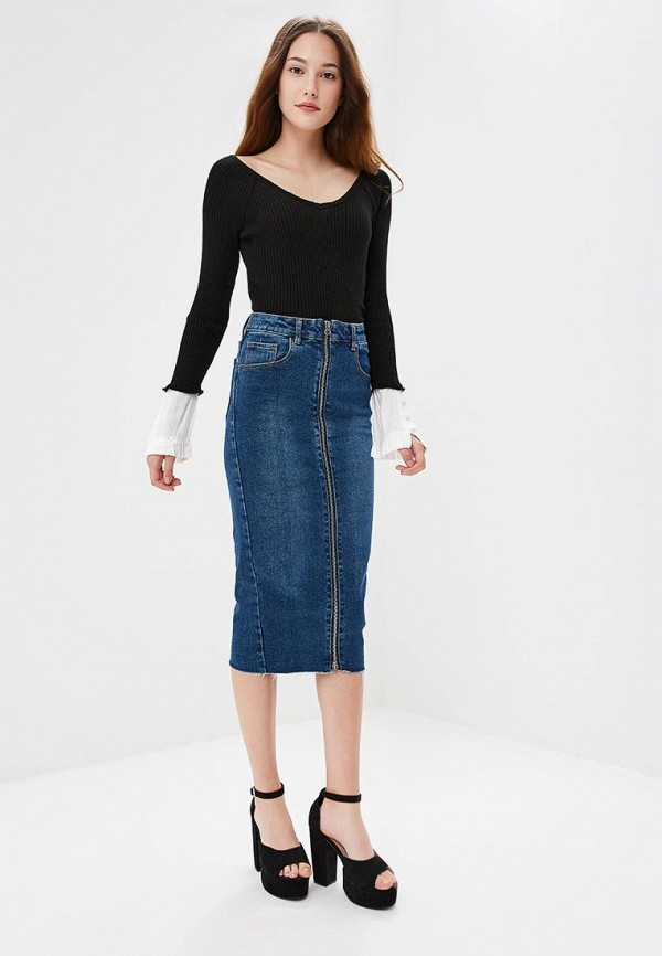Юбка джинсовая Lost Ink ZIP THROUGH DENIM PENCIL SKIRT
