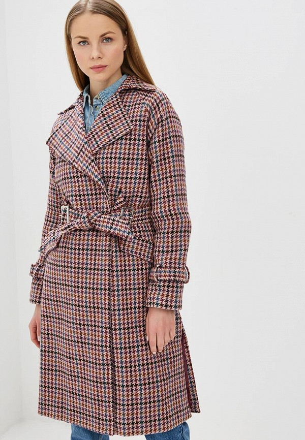 Пальто Lost Ink CHECK COAT WITH SIDE SLITS