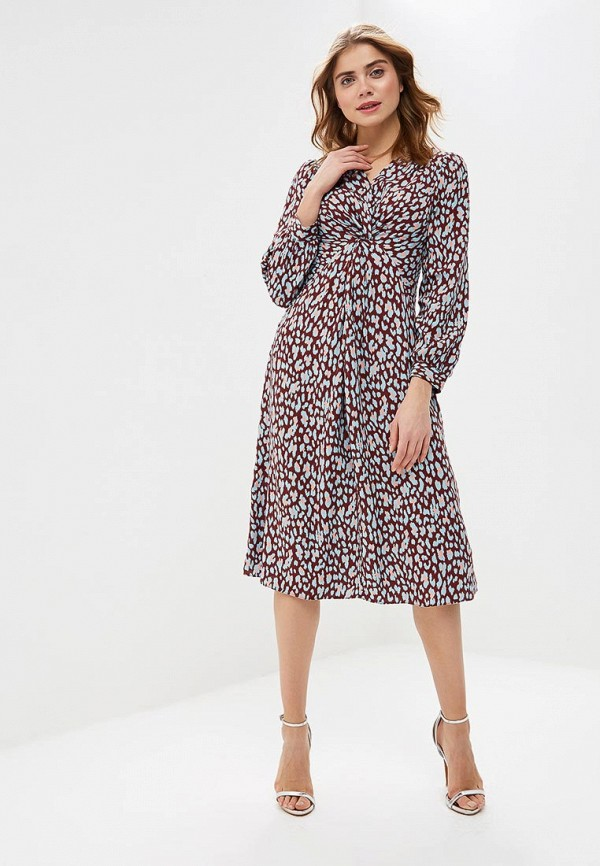 Платье Lost Ink TWIST FRONT LEOPARD MIDI DRESS