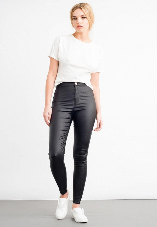 Брюки LOST INK HIGH WAIST JEGGING IN COATED BLACK