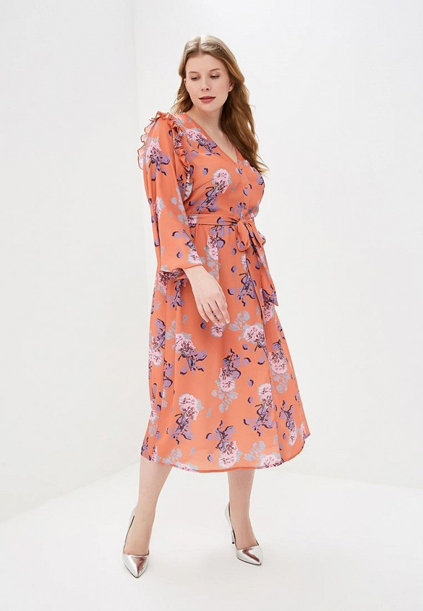 Платье LOST INK PLUS MIDI DRESS IN ORANGE FLORAL PRINT
