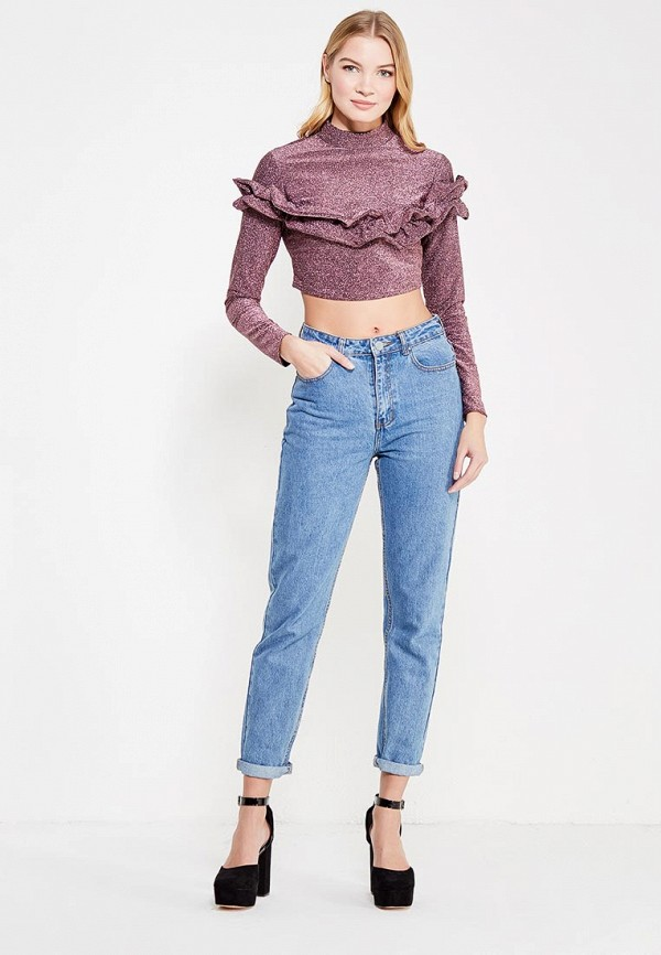 Лонгслив Lost Ink Petite P SHIMMER PLEATED TRIM CROP