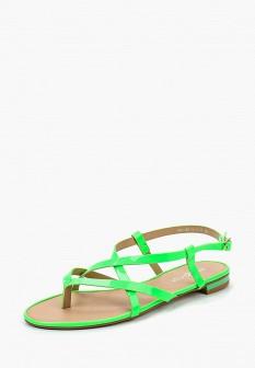 Женские зеленые осенние кожаные сандалии