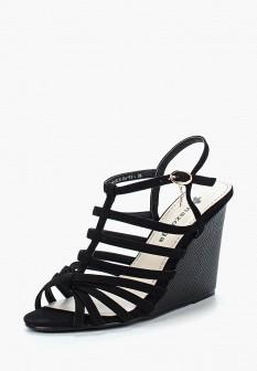 Женские черные осенние босоножки на каблуке