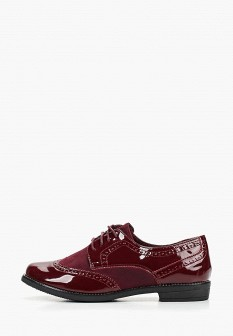 Женские бордовые кожаные ботинки на каблуке на платформе