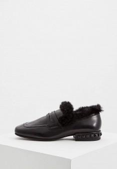 Женские черные кожаные туфли лоферы с мехом