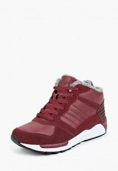 Женские бордовые осенние кожаные кроссовки