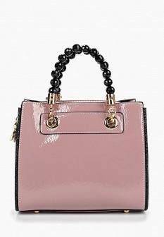 Женская розовая кожаная лаковая сумка
