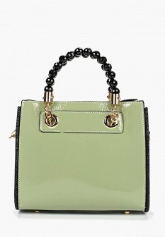 Женская зеленая кожаная лаковая сумка