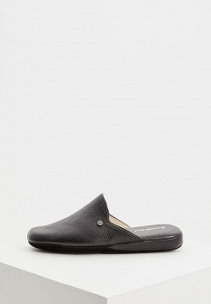 Мужские черные итальянские кожаные тапочки