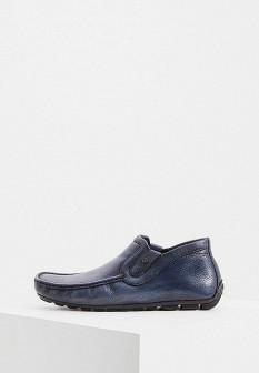 Мужские синие осенние итальянские кожаные мокасины