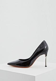 Женские итальянские кожаные лаковые туфли на каблуке