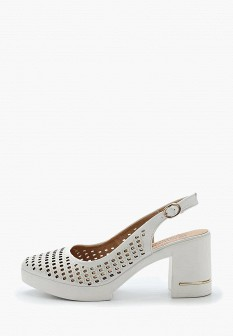 Женские белые кожаные туфли на каблуке на платформе