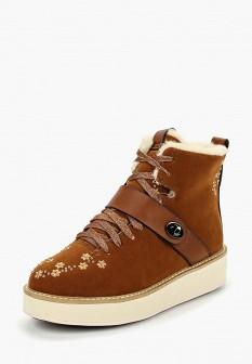 Женские коричневые осенние ботинки из нубука на платформе