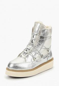 Женские осенние серебряные кожаные ботинки на платформе