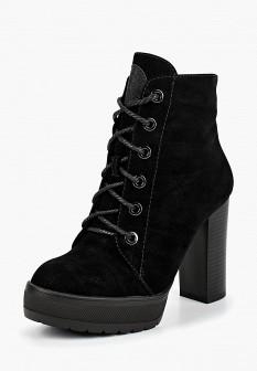 Женские черные осенние ботильоны на каблуке
