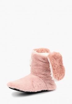 Женские розовые осенние меховые текстильные тапочки