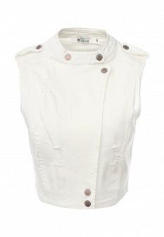 Женский белый осенний джинсовый жилет