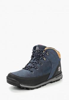 Мужские синие осенние кожаные трекинговые ботинки