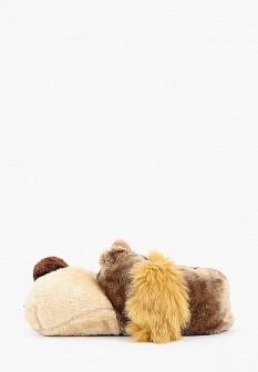 Мужские коричневые осенние меховые тапочки