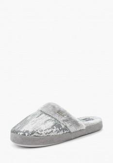 Женские осенние серебряные меховые тапочки