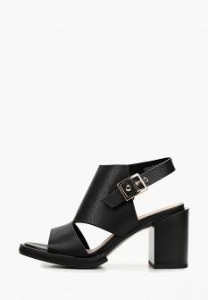 Женские черные кожаные босоножки на каблуке