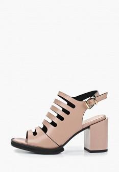 Женские бежевые кожаные босоножки на каблуке