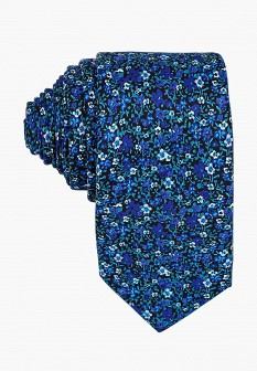 Мужской синий осенний галстук