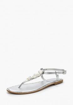 Женские серебряные кожаные сандалии