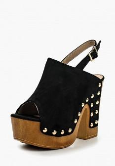 Женские черные босоножки на каблуке на платформе