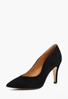 Женские черные осенние туфли на каблуке