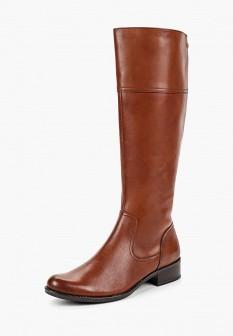Женские коричневые осенние кожаные сапоги на каблуке